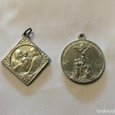 Antigüedades: CONJUNTO DE ANTIGUAS MEDALLAS RELIGIOSAS EN ZINC. Lote 199806197