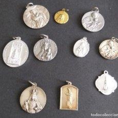 Antigüedades: MEDALLAS 10 MEDALLAS, VIRGEN DE PEÑARROLLA,VIRGEN DE LA VICTORIA, DEL CARMEN,MEDALLA DE SANTA LUISA,. Lote 199824436