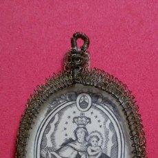 Antigüedades: MEDALLON RELICARIO Nª Sª DEL CARMEN CAJA OVAL Y CON ORLA DE HILO METALICO EN FILIGRANA, SIGLO XVIII . Lote 199858230