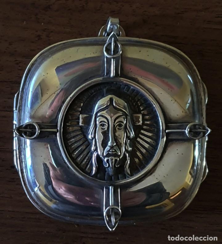 Antigüedades: PORTAVIÁTICO DE PLATA Y PLATA DORADA - ART DECÓ - CRISTO. - Foto 3 - 199869430