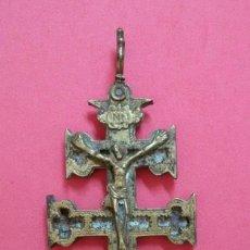 Antigüedades: ESPECTACULAR CRUZ DE CARAVACA. BRONCE. S.XVIII. QUERUBINES. Lote 199880192