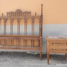 Antigüedades: ANTIGUA CAMA CON MESITA DE NOCHE. Lote 199943758