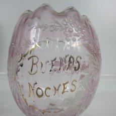 Antigüedades: TULIPA ART DECÓ - BUENAS NOCHES - CRISTAL - PINTADO A MANO - AÑOS 20. Lote 199952161
