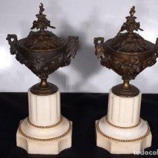 Antigüedades: PAREJA DE JARRONES, CAZOLETTES, URNAS. BRONCE Y MÁRMOL. FIRMADO. FRANCIA. NAPOLEÓN III. SIGLO XIX.. Lote 199961300