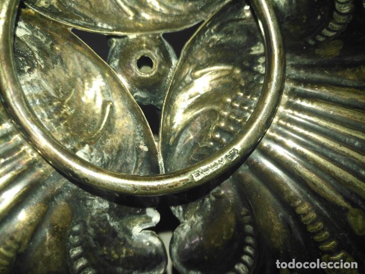 Antigüedades: CENTRO DE MESA TRIPLE Concha JOYERIA CON CON SELLOS GRAN TAMAÑO ALPACA METAL PLATEADO - Foto 9 - 199963851
