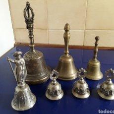 Antigüedades: LOTE DE 7 CAMPANILLAS VARIOS TAMAÑOS. Lote 200002071