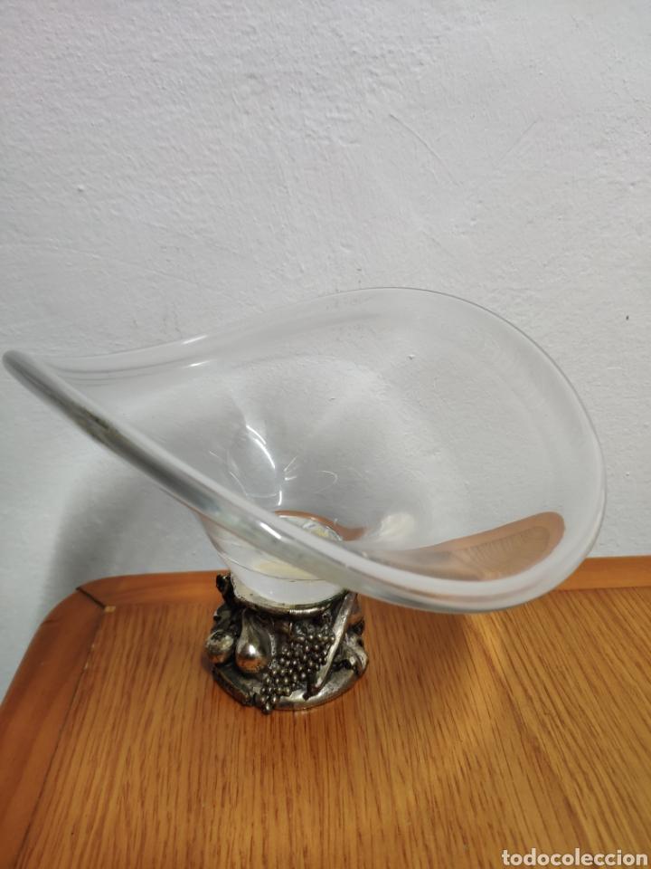 Antigüedades: Precioso cuenco cristalli doggi art glass peana bañada plata arg 925 - Foto 2 - 200041816
