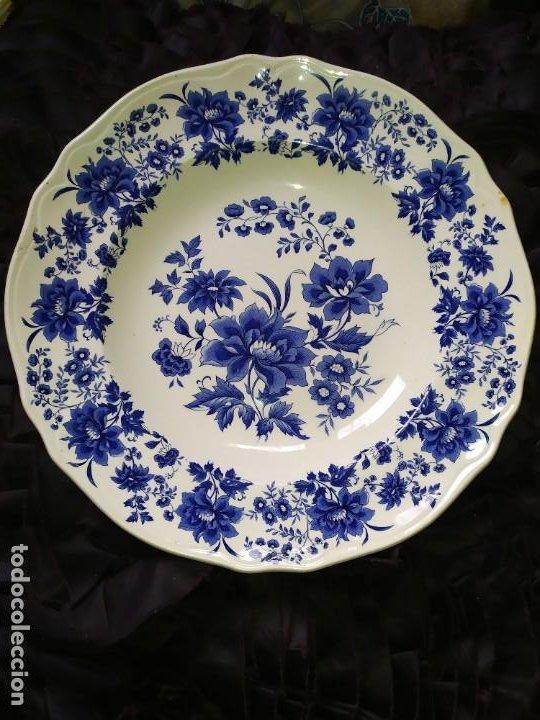 LOTE 13 PLATOS AZULES SAN CLAUDIO PRINCIPADO BLUEBOUQUET MADE IN SPAIN ANTIGUOS VINTAGE RESTAURAR (Antigüedades - Porcelanas y Cerámicas - San Claudio)