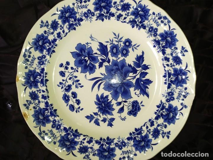 Antigüedades: LOTE 13 PLATOS AZULES SAN CLAUDIO PRINCIPADO BLUEBOUQUET MADE IN SPAIN ANTIGUOS VINTAGE RESTAURAR - Foto 6 - 200050173
