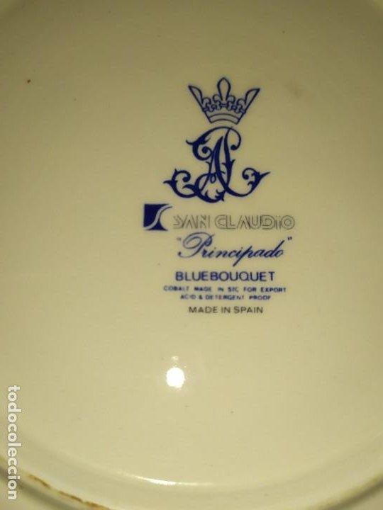 Antigüedades: LOTE 13 PLATOS AZULES SAN CLAUDIO PRINCIPADO BLUEBOUQUET MADE IN SPAIN ANTIGUOS VINTAGE RESTAURAR - Foto 13 - 200050173