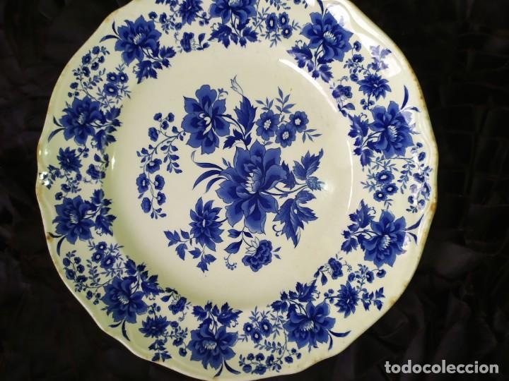 Antigüedades: LOTE 13 PLATOS AZULES SAN CLAUDIO PRINCIPADO BLUEBOUQUET MADE IN SPAIN ANTIGUOS VINTAGE RESTAURAR - Foto 17 - 200050173