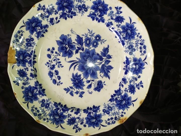 Antigüedades: LOTE 13 PLATOS AZULES SAN CLAUDIO PRINCIPADO BLUEBOUQUET MADE IN SPAIN ANTIGUOS VINTAGE RESTAURAR - Foto 24 - 200050173