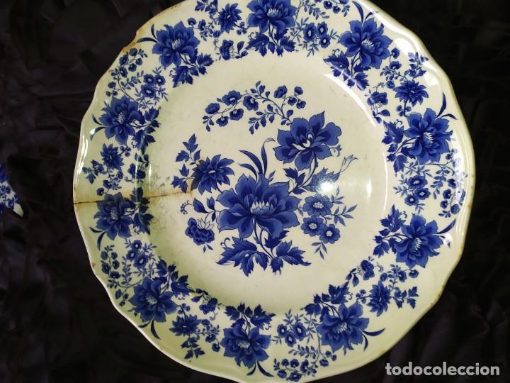 Antigüedades: LOTE 13 PLATOS AZULES SAN CLAUDIO PRINCIPADO BLUEBOUQUET MADE IN SPAIN ANTIGUOS VINTAGE RESTAURAR - Foto 30 - 200050173