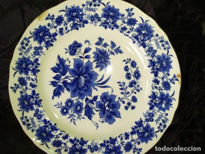 Antigüedades: LOTE 13 PLATOS AZULES SAN CLAUDIO PRINCIPADO BLUEBOUQUET MADE IN SPAIN ANTIGUOS VINTAGE RESTAURAR - Foto 31 - 200050173