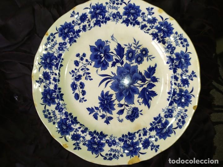 Antigüedades: LOTE 13 PLATOS AZULES SAN CLAUDIO PRINCIPADO BLUEBOUQUET MADE IN SPAIN ANTIGUOS VINTAGE RESTAURAR - Foto 41 - 200050173