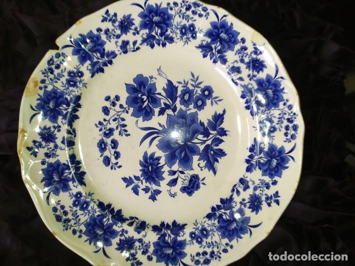 Antigüedades: LOTE 13 PLATOS AZULES SAN CLAUDIO PRINCIPADO BLUEBOUQUET MADE IN SPAIN ANTIGUOS VINTAGE RESTAURAR - Foto 42 - 200050173