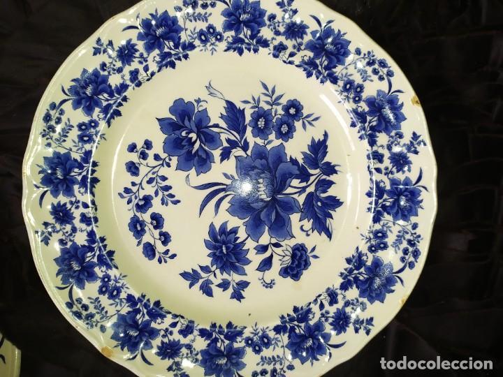 Antigüedades: LOTE 13 PLATOS AZULES SAN CLAUDIO PRINCIPADO BLUEBOUQUET MADE IN SPAIN ANTIGUOS VINTAGE RESTAURAR - Foto 56 - 200050173