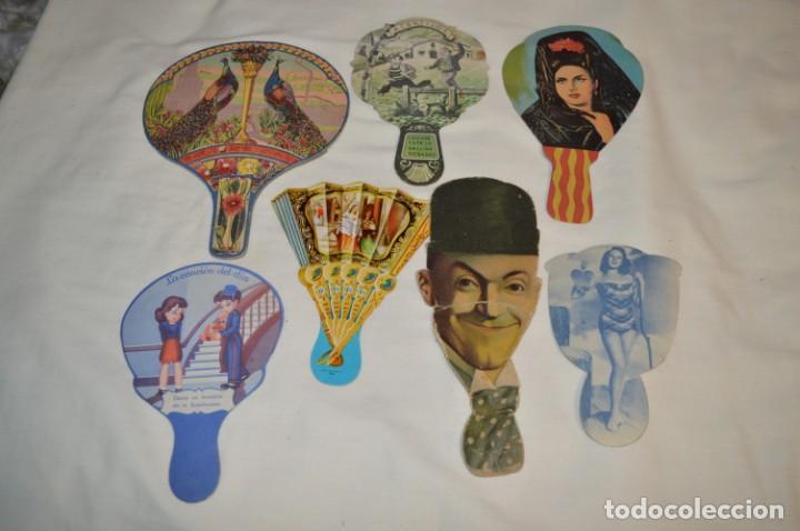 COLECCIÓN ANTIGUA / MODELOS DIFERENTES - 7 PAI PAI / REVERSO CON PUBLICIDAD ¡MIRA FOTOS/DETALLES! (Antigüedades - Moda - Abanicos Antiguos)