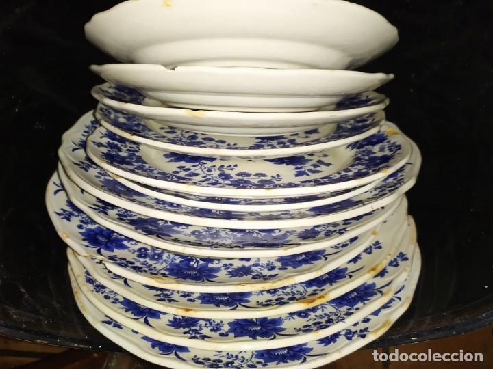 Antigüedades: LOTE 13 PLATOS AZULES SAN CLAUDIO PRINCIPADO BLUEBOUQUET MADE IN SPAIN ANTIGUOS VINTAGE RESTAURAR - Foto 66 - 200050173