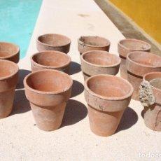 Antigüedades: LOTE DE 11 MACETAS DE BARRO, AÑOS 50-60. Lote 200071925