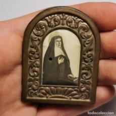 Antigüedades: ANTIGUO ICONO RELIGIOSO - MONJA RELIGIOSA - MATER RELIGIOSA - CONVENTO - FINALES SIGLO XIX - LATÓN. Lote 200084993