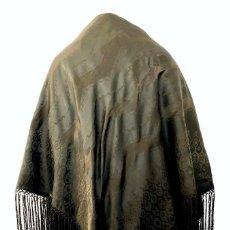 Antigüedades: BELLO MANTÓN NEGRO DE SEDA NATURAL DAMASQUINADA - PP. S. XX. Lote 200087985