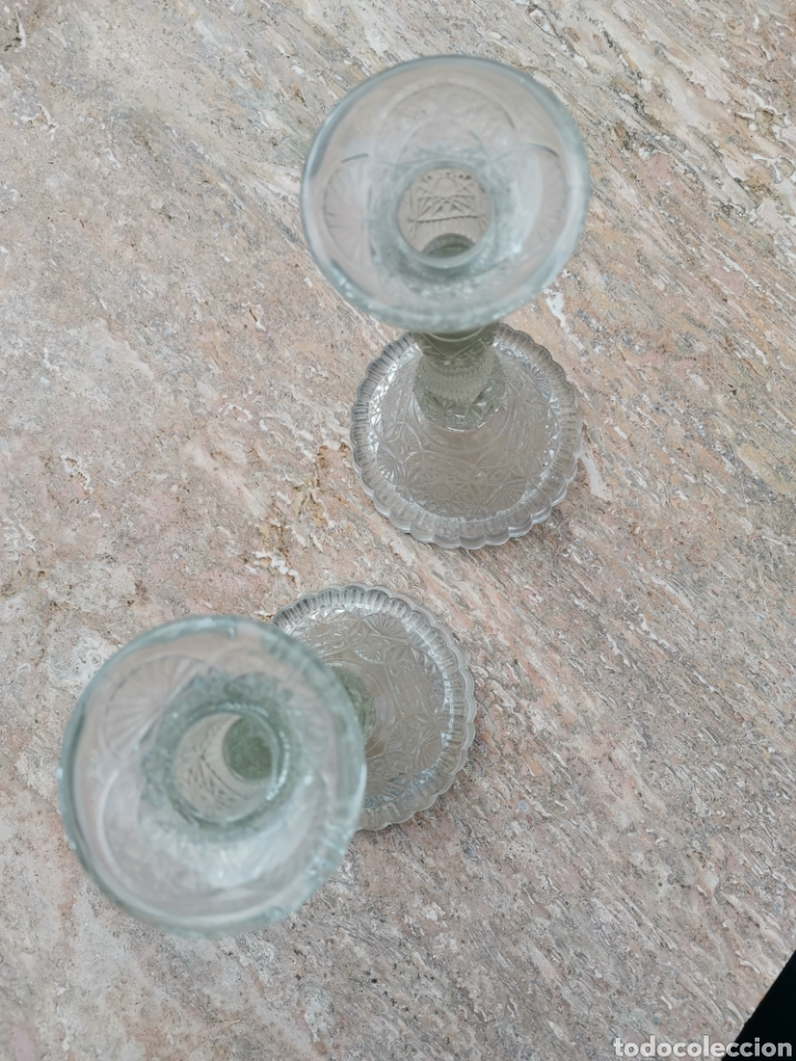 Antigüedades: Candeleros vidrio - Foto 4 - 200098433