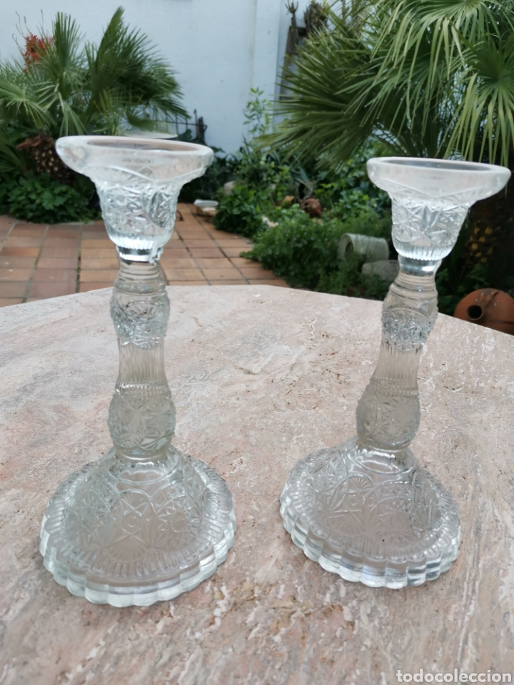 Antigüedades: Candeleros vidrio - Foto 5 - 200098433