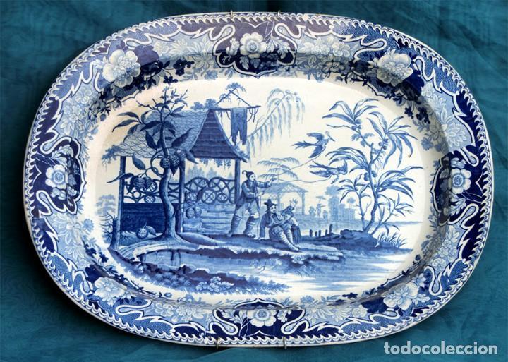 Antigüedades: ANTIGUA FUENTE DE CERÁMICA - TEMÁTICA ORIENTAL - TONOS AZULES - BANDEJA INGLESA - COLECCIÓN - SELLO - Foto 2 - 200103163
