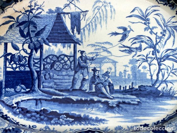 Antigüedades: ANTIGUA FUENTE DE CERÁMICA - TEMÁTICA ORIENTAL - TONOS AZULES - BANDEJA INGLESA - COLECCIÓN - SELLO - Foto 6 - 200103163