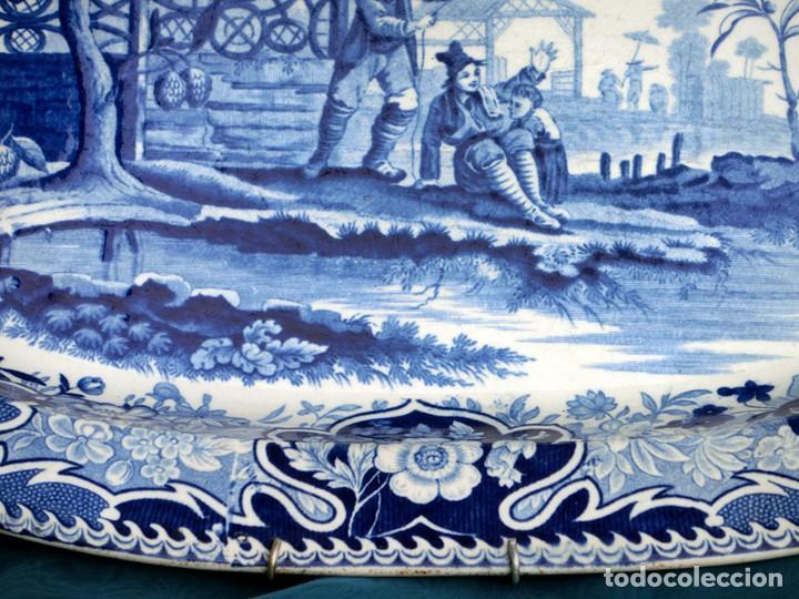 Antigüedades: ANTIGUA FUENTE DE CERÁMICA - TEMÁTICA ORIENTAL - TONOS AZULES - BANDEJA INGLESA - COLECCIÓN - SELLO - Foto 7 - 200103163