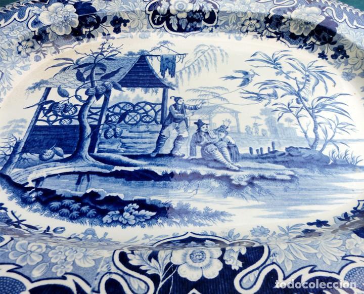 Antigüedades: ANTIGUA FUENTE DE CERÁMICA - TEMÁTICA ORIENTAL - TONOS AZULES - BANDEJA INGLESA - COLECCIÓN - SELLO - Foto 10 - 200103163
