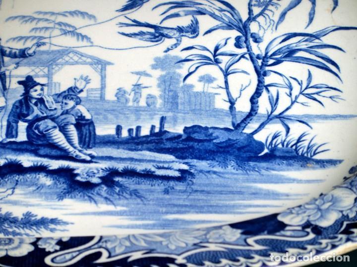 Antigüedades: ANTIGUA FUENTE DE CERÁMICA - TEMÁTICA ORIENTAL - TONOS AZULES - BANDEJA INGLESA - COLECCIÓN - SELLO - Foto 13 - 200103163