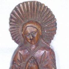Antigüedades: ~~~~ ANTIGUA TALLA DE MADERA, IMAGEN FIGURA DE LA VIRGEN , MIDE 16 CM.~~~~. Lote 200109946