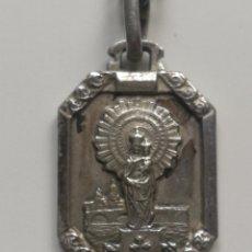 Antigüedades: VIRGEN DEL PILAR MEDALLA DE PLATA CON CADENA. Lote 200125160