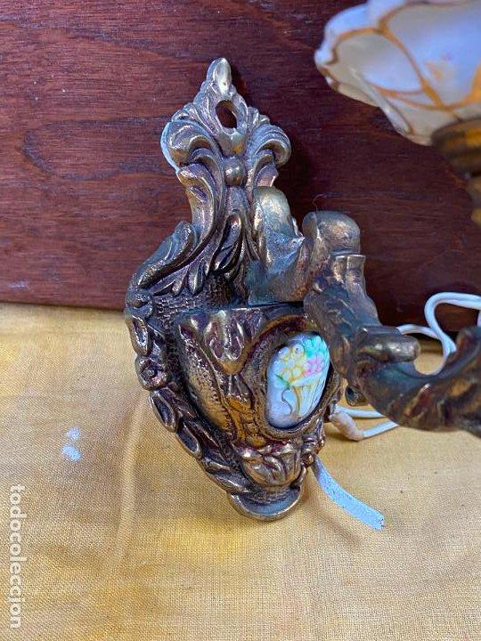 Antigüedades: PRECIOSO APLIQUE DE PARED EN BRONCE - Foto 7 - 200129716