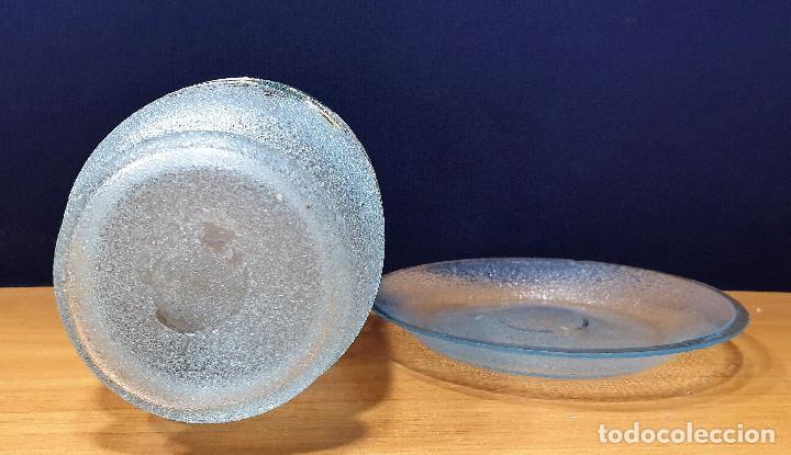 Antigüedades: Botella de noche de cristal esmaltado con platito. La Industria, fábrica de vidrios de Gijón. - Foto 6 - 200150208