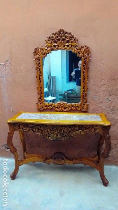 CONSOLA TALLADA CON ESPEJO- (Antigüedades - Muebles Antiguos - Consolas Antiguas)