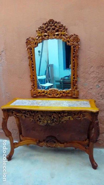 Antigüedades: consola tallada con espejo- - Foto 2 - 200166317