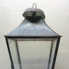 Antigüedades: 1900 INDUSTRIAL ESPECTACULAR LAMPARA FAROL ANTIGUO CHAPA DE HIERRO VIDRIOS ORIGINALES - COLGAR PARED. Lote 200174415