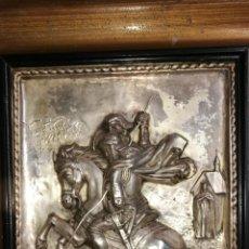 Antigüedades: CUADRO REPUJADO EN ALPACA PLATEADA. Lote 200180676