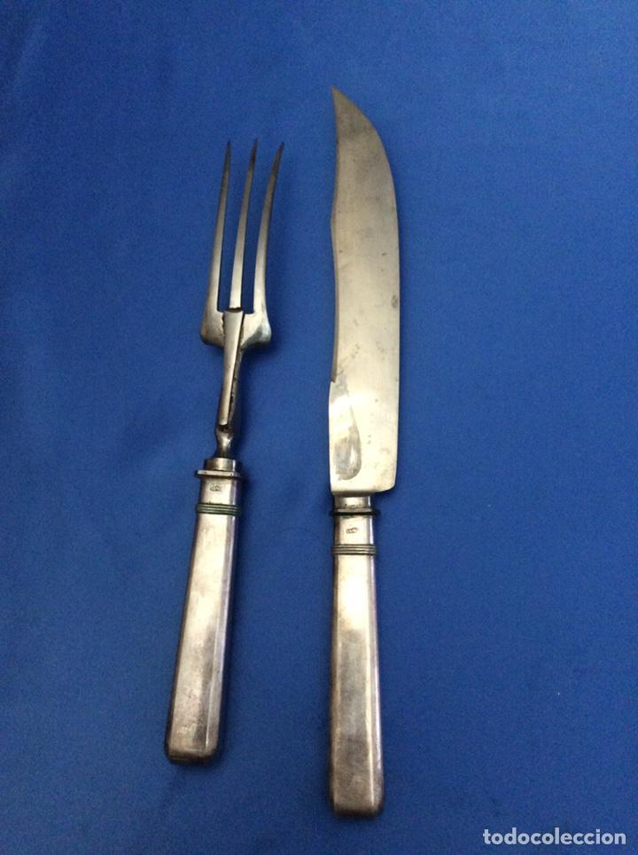 Antigüedades: Cuchillo y tenedor mangos de plata - Foto 5 - 200186178