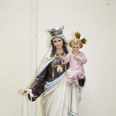 Antigüedades: FIGURA RELIGIOSA VIRGEN DEL CARMEN CON NIÑO Y ESCAPULARIO - PASTA OLOT - 56CM ALTO. Lote 200262393