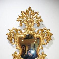 Antigüedades: GRAN ESPEJO ANTIGUO CORNUCOPIA MADERA TALLADA Y FINO PAN DE ORO. Lote 200264141