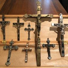Antigüedades: LOTE 8 CRUCIFIJOS ANTIGUOS CRISTO.. Lote 200278692