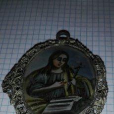 Antiquités: RELICARIO CRISTAL PINTADO Y PLATA. Lote 200313483