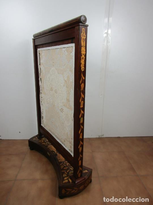 Antigüedades: Protege Chimenea - Sello W.F Greenwod & Sons Ltd, York, Inglaterra - Madera y Marquetería - S. XIX - Foto 37 - 200317068