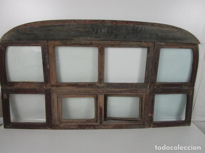 Antigüedades: Decorativa Ventana Plegable Antigua - Posible Ventana de Vagón de Tren, Carruaje - Madera - Foto 8 - 200352141