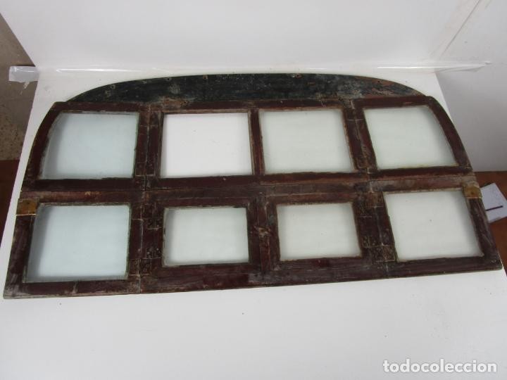 Antigüedades: Decorativa Ventana Plegable Antigua - Posible Ventana de Vagón de Tren, Carruaje - Madera - Foto 12 - 200352141