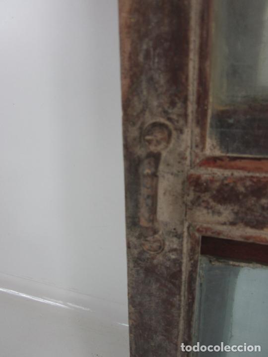 Antigüedades: Decorativa Ventana Plegable Antigua - Posible Ventana de Vagón de Tren, Carruaje - Madera - Foto 21 - 200352141